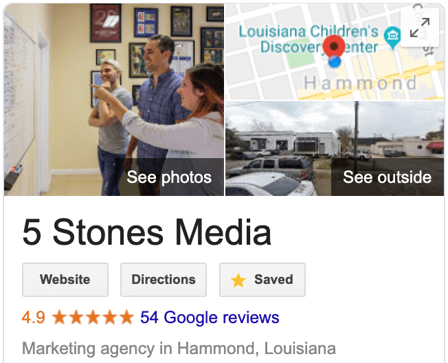 Screenshot of 5 Stones Media's google reviews on their Google My Business listing