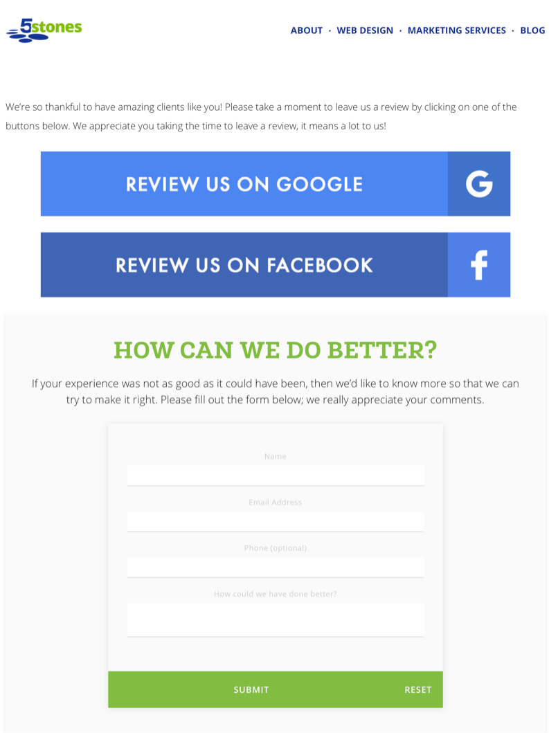 image of the page on 5 Stones Media's website requesting both reviews and feedback