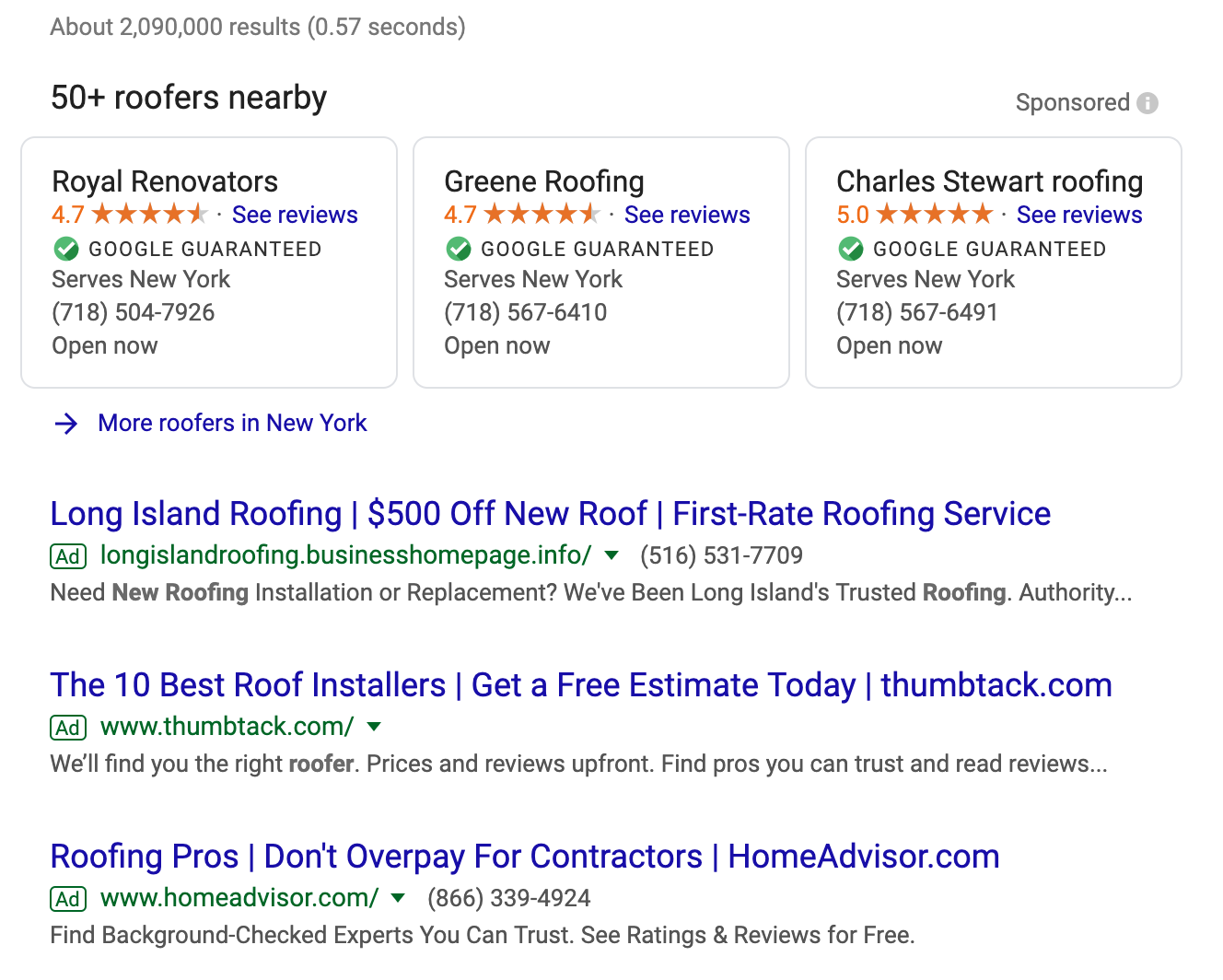 Image of Google Ads that have the Google guarantee badge