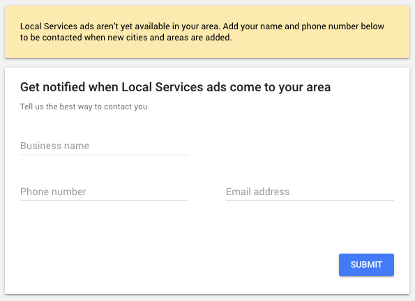 Image showing Google Ad form allowing user information to be put in for updates of Local Service Ads becoming available in a specific area.